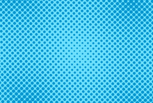 Pop Art Pattern. Halftone Comic Dotted Background. Blue Print With Circles. Duotone Backdrop With Half Tone Effect. Cartoon Vintage Texture. Superhero Wow Print. Gradient Design. Vector Illustration