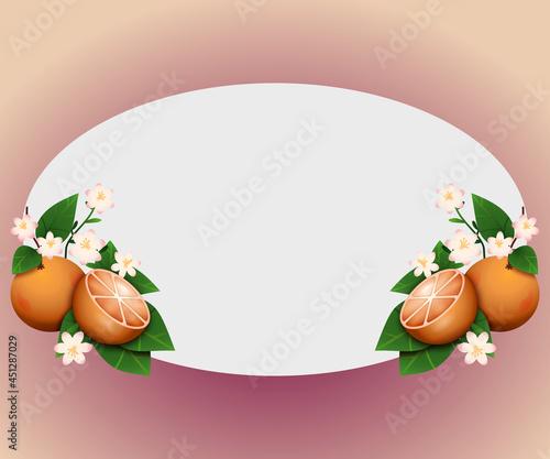 Wzór ramki z owocami pomarańczy, liśćmi i kwiatami. Botaniczny szablon na zaproszenie ślubne, kartkę z życzeniami, voucher, okładkę, plakat, ulotkę.