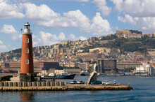 Naples (Napoli) Lighthouse And Castel Dell Ovo Naples, Italy