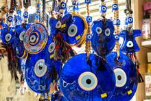 Evil Eye Beads Closeup. Nazar Beads. Turkish Tourist Souvenir, Istanbul, Turkey
