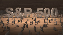 NEW YORK, USA - CIRCA 2021: S&P 500 Stock Market Index Of The Largest Companies Listed On Stock Exchanges In The USA - Editorial Illustration Rendering