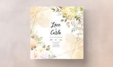 Wedding Invitation Card With Warm Soft Autumn Fall Floral