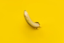 A Large Banana Curved Upward Through A Torn Hole In Yellow Paper. The Concept Of Tropical Fruits, Vegetarianism, Good Potency And Erection. Background With Copy Space.