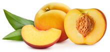 Juicy Peach Isolated On The White Background. Fresh Peach And Leaf. Clipping Path Peach. Peach Macro Studio Photo