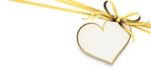 Gold Ribbon Bow With Heart Hang Tag