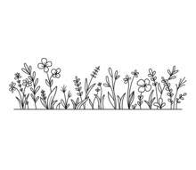 Vector Wild Herbs And Flowers Silhouette Background. Field With Grass And Wildflowers Isolated On White.