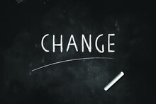 CHANGE Written With Chalk On Blackboard Icon Logo Design Vector Illustration