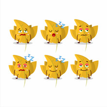 Cartoon Character Of Conkers Yellow Leafz With Sleepy Expression