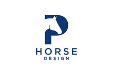 The Logo Design With The Initial Letter P Is Combined With A Modern And Professional Horse Head Symbol