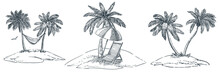 Tropical Islands With Palm Trees, Hammock, Parasol And Chaise Longue. Vector Hand Drawn Sketch Landscape Illustration