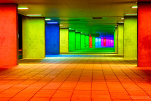 Dutch Travel Destinations. Mulitcolored Illuminated Rainbow Gallery Tunnel Near The NAI Building In The Nederlands Architecture Institute Near Museum Park In Rotterdam