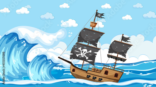 Fotografia Ocean with Pirate ship at day time scene in cartoon style