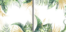 Watercolor Summer Invitations Frames With Hand Painted Tropical Dried Palm Leaves, Branches Of Green, Gold Leaves. Romantic Floral Bouquet Perfect For Wedding Greeting Cards, Invitation And More. High