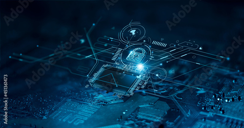 Digital padlock icon, cyber security network and data protection technology on virtual interface screen. Online internet authorized access against cyber attack.and business data privacy concept.