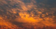 Sunset Mammatus Clouds After A Storm. Serbia