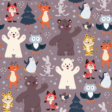 Seamless Pattern With Funny Animals Polar Bear, Penguin, Owl, Rabbit Characters And Fir Trees Isolated. For Christmas Cards, Invitations, Packaging Paper Etc. Vector Flat Cartoon Illustration.