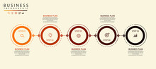 Optional Five Step Infographic Process Step Pie Chart With Icon Data Vector Concept. Can Be Used In Business Flow Charts For Educational Purposes. Step Data Chart And Infographics