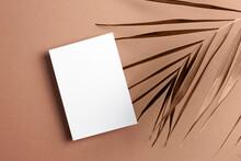 Invitation Card Mockup With Palm Tree Leaf Decoration