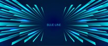 Abstract Neon Frame Blue Background. The Design Of Gradient Wings Made Of Geometric Shapes. The Texture Of The Lines. LED Strip, Bright Glow. Vector Illustration