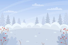 Horizontal Winter, Snowy Landscape. Snowdrifts, Bushes, Fir Trees In The Snow, Snow-covered Bushes. Color Vector Illustration. Nature Background With Empty Space For Text