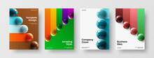 Bright Realistic Balls Flyer Illustration Bundle. Clean Banner A4 Vector Design Layout Composition.