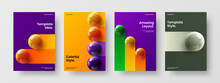 Clean 3D Spheres Book Cover Layout Bundle. Multicolored Corporate Identity A4 Vector Design Concept Composition.