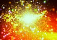 爆発する光の粒子のイラスト
