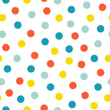 Cute Bright Polka Dot Seamless Pattern. Colorful Dots On White Background Texture.