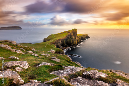 Fototapeta Beautiful landscape scene of famous Scottish landmark Neist Point on the Isle of Skye