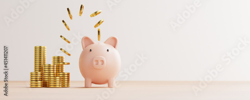 Golden coins flying and floating to piggy bank for creative financial saving and deposit concept with copy space , 3d render.