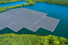 Panorama Aerial View Of Floating Solar Panels Cell Platform On The Beautiful Lake Renewable Alternative Electricity Energy