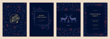 Modern Universal Artistic Templates. Merry Christmas Corporate Holiday Cards And Invitations. Floral Frames And Backgrounds Design.
