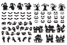 Halloween Silhouette Elements. Scary Ghost Spirit Vector For Halloween Card Decoration