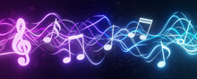 Musical Note Concept. Staff Treble Clef Notes. Music Concert Or Worship Night With Colorful Lights And Bokeh Background. Song Or Music With Wide Backdrop. 3D Rendering.