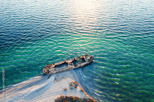 Stampa su Tela Old shipwreck reinforced concrete barge