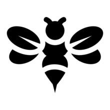 Bee Glyph Icon Vector