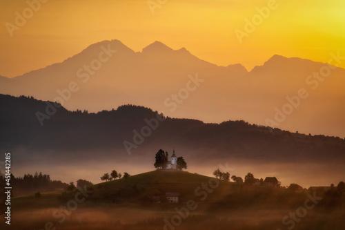 Saint Thomas Church during Sunrise in the Slovenian Moutains