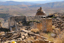 Scenic View Of Craco Ruins, Ghost Town Abandoned After A Landslide, Basilicata Region, Southern Italy