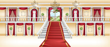 Palace Interior, Vector Castle Room Background, Royal Ballroom, Arch Window, Red Carpet, Marble Column. Luxury Hotel Hall, White Staircase Balustrade, Golden Chandelier. Rich Vintage Palace Interior