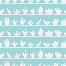 Blue Abstract Plant Pots Seamless Pattern Stripes