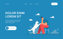 Cartoon Sad Man With Dog Flat Vector Illustration. Male Character Sitting On Chair And Looking At Pet Touching His Knees. Stress, Sadness, Trouble, Animal, Pet, Support Concept For Banner Design