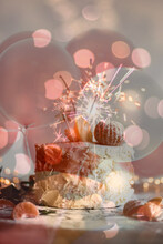 An Abstract Birthday Party Wallpaper Picture Blended With Pink Ballons Oranges And Birthday Cake With Pink Peach Bokeh And Fireworks At The Back Showcasing A Celebration