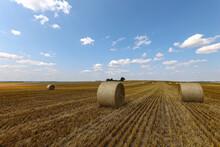 Scenic View Of A Harvested Field With Several Rolled Hay Bales