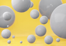 Grey Spheres Of Balls On Yellow Background. With An Empty Space 3d Rendering.