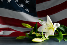 Lily Flowers On Table Against USA Flag. National Day Of Prayer And Remembrance For The Victims Of The Terrorist Attacks