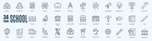School Icons Set. Collection Of Linear Simple Web Icons Such As Math, Study, Calculator, Law, Briefcase, And Other. Editable Vector Stroke.