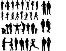 Siluetas Humanas, Humanos En Contorno, Iconos De Humanos, Símbolos De Humanos, Humanos En Diferentes Posiciones, Personas En Contorno, Contorno De Personas