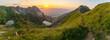 Leinwandbild Motiv Panorama Allgäu Gaisalpsee Sonnenuntergang