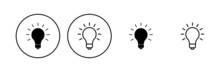 Lamp Icon Set. Light Bulb Icon Vector. Idea Symbol.