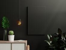 Mockup Black Poster In Living Room Interior On Empty Dark Wall Background.